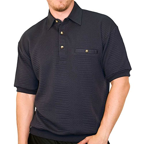 Banded Bottom Classics by Palmland Solid French Terry Polo Shirt - 6090-780 (Large, Navy)