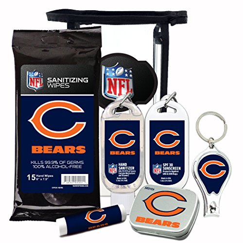 Chicago Bears 6-Piece Fan Kit with Decorative Mint Tin, Nail Clippers, Hand Sanitizer, SPF 15 Lip Balm, SPF 30 Sunscreen, Sanitizer Wipes. NFL Football Gifts for Men and Women