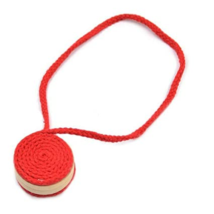 EleCharm 1 Pair Handmade Natural Cotton Thread Spiral Magnetic Curtain Tieback Holdback Clip Coffee