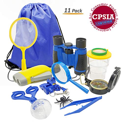 Kids Adventure Kit, 11-in-1 Outdoor Exploration Gift Set for Camping, Hiking and Pretend Play - Including Binoculars Compass Flashlight Bug Catcher Container Whistle Butterfly Net Magnifier Backpack by iKeelo