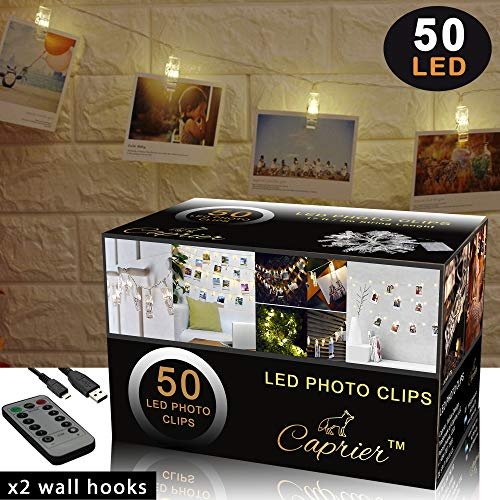 CAPRIER Luxury Photo Clips String Light | 50 LED, USB Cable, Remote, Wall Hooks | Photo Clip Lights with Clips for Pictures, Photo String with Clips for Hanging Polaroid, Cards and Home Decoration (Polaroid Glow In The Dark)