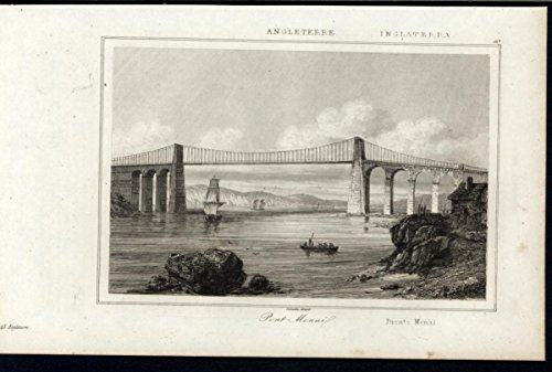 Menai Bridge Island of Anglesey Northern Wales 1844 antique engraved print