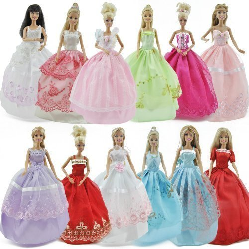 Fashion Assorted 5 Handmade Dresses + 10 Pairs Shoes For Barbie Doll Accessories -
