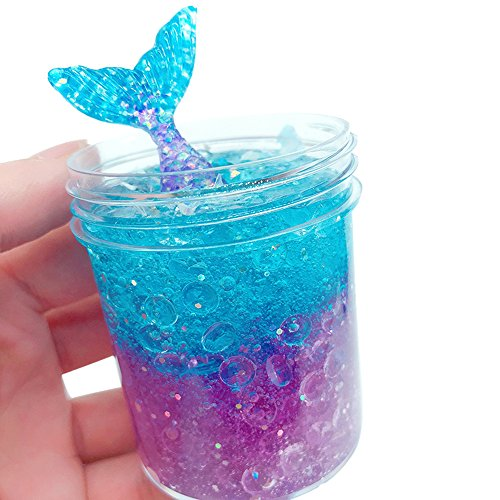 Show Tine ON Ice Crystal Mermaid Slime Mud,Mermaid Fish Tail Slime Putty with Fishbowl Beads,Stress Relief Sludge Crystal Clay Toys for Kids Adults (Multicolor, 120 ml / 4 oz)