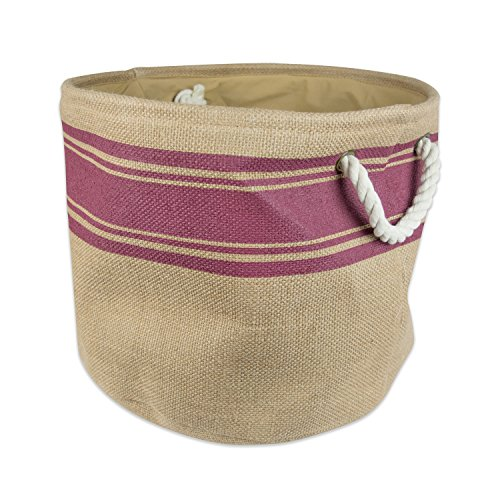 """DII Collapsible Burlap Storage Basket or Bin with Durable Cotton Handles, Home Organizational Solution for Office, Bedroom, Closet, Toys, & Laundry (Large Round – 16x15""""), Wine Border by DII (Image #6)"""