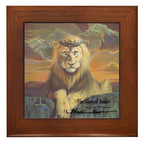 CafePress - The Lion of Judah Fine Art - Framed Tile, Decorative Tile Wall Hanging