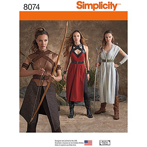 Simplicity 8074 Women's Fantasy Warrior Halloween and Cosplay Costume Sewing Patterns, Sizes 14-22