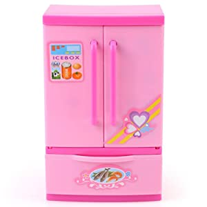 Yosoo Mini Fridge Appliances Perfect Little Pink Refrigerator Dream Kitchen Mini Refrigerator Pink Toy Fridge Playset for Dolls with Play Food Set
