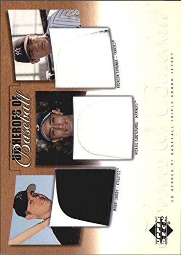 2001 UD Prospect Premieres Heroes of Baseball Jersey Crosby Garciaparra Sardinha