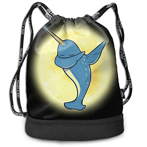 Zhangyi Funny Dab Narwhal Drawstring Backpack Sports Gym Cinch Sack Bag for Girls Boys Women Sackpack Dance Bag