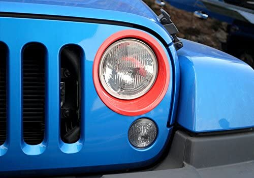 KUJOOY Pair ABS Car Front Light Headlight Frame Trim Cover Jeep Wrangler JK Red