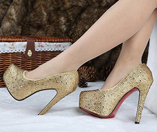 Sho168836 Talon De Plate De Or De De 5 Magnifiques Haut Soirée Chaussures Pétillants 4 5 De Mariage 4 Pouces forme La AafwqxTgW