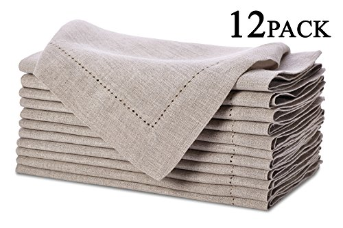 Pure Linen Oversized Napkins 12 Pack - Pure Linen Hemstitch Napkins - (Set of 12) Size 20x20 Natural - Hand Crafted and Hand Stitched Napkins with Hemstitch detailing on Genuine Linen Fabric (Pure Linen)