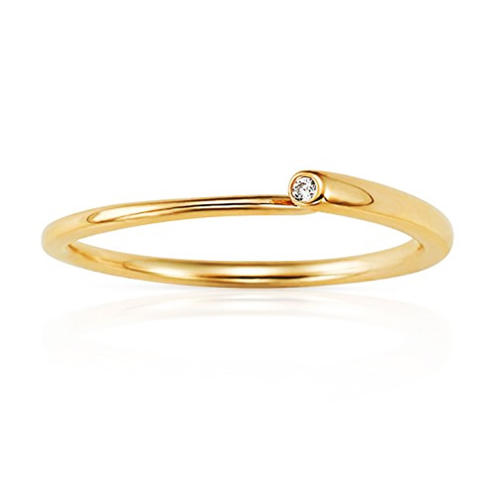 New Style Open CZ Stackable Ring in 14K Yellow Gold (7)
