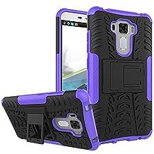 Asus Zenfone 3 laser case, SsHhUu Tough Heavy Duty Shock Proof Defender Cover Dual Layer Armor Combo Protective Hard Case Cover for Asus Zenfone 3 Laser ZC551KL 5.5 inch (Purple)