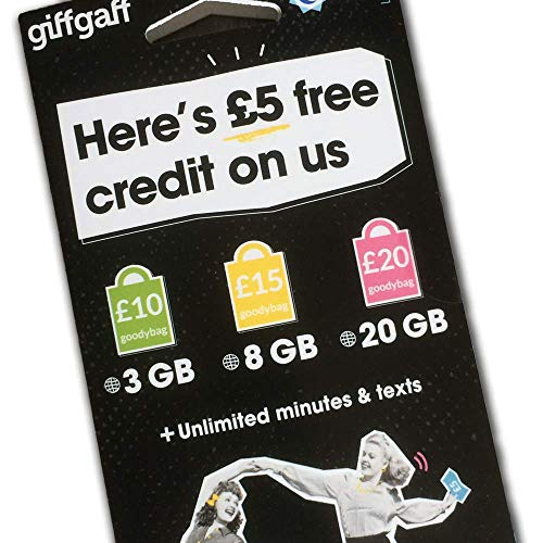 GiffGaff UK Pay-as-You-Go SIM Card 3-in-1 Size 5 Bonus  Travel from U S  to  UK