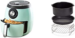 Dash DFAF455GBAQ01 Deluxe Electric Air Fryer + Oven Cooker, 6 Quart, 6 qt, Aqua & DFAF450UP1 Air Fryer, Deluxe, Accessory Bundle