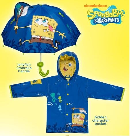 Kidorable Spongebob Rain Coat WITH Umbrella (6/6X)