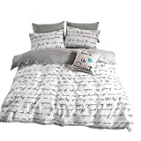 BuLuTu Love Letters Print Cotton Kids Duvet Cover Queen Set White Gray Premium Modern Teen Boys Girls Bedroom Bedding Sets Queen Comforter Cover Zipper Closure,Gifts Family,Him,Her,No Comforter