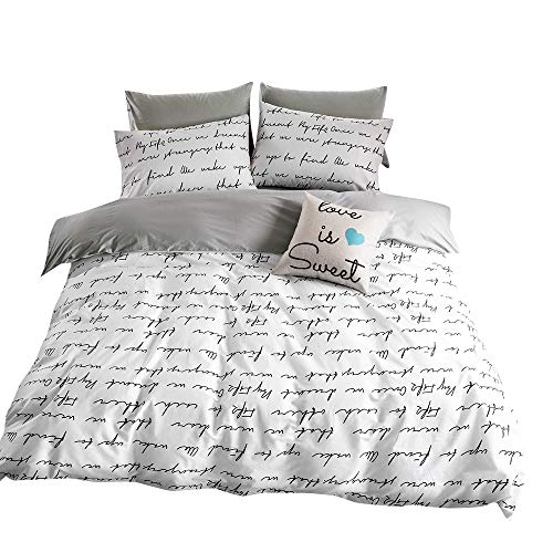 Bedroom Teen (BuLuTu Love Letters Print Cotton Kids Duvet Cover Queen Set White Gray Premium Modern Teen Boys Girls Bedroom Bedding Sets Queen Comforter Cover Zipper Closure,Gifts Family,Him,Her,No Comforter)