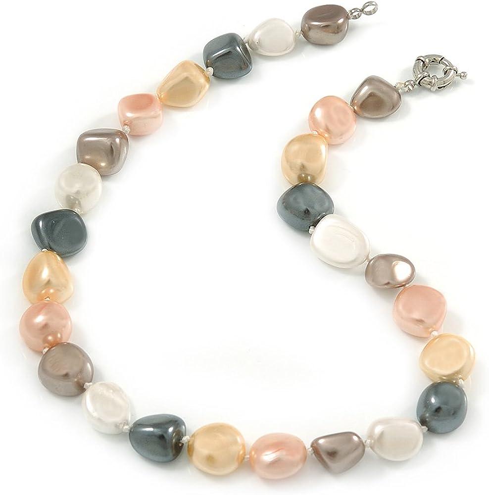Avalaya - Collar de perlas de cristal redondo de 15 mm con cierre de anillo de resorte en tono plateado, 43 cm de largo