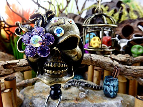 Skull Badge Holder Halloween ID Reel Sugar Skull Retractable Clip Goth Gothic Rhinestone Skeleton Freaky Punk Creepy Badass Spooky Day of the Dead XRAY Gift for Her Bling Crystal ER PT Nurse RN 141