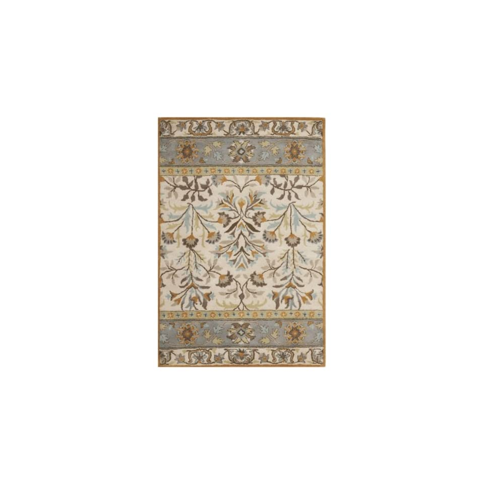 Safavieh Jardin Collection JAR726A Handmade Ivory and Blue Premium Wool Area Rug (4 x 6)
