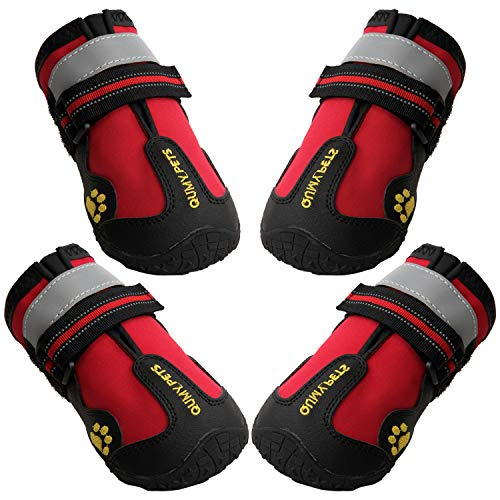 QUMY Dog Boots Waterproof Shoes for Large Dogs with Reflective Velcro Rugged Anti-Slip Sole 4PCS