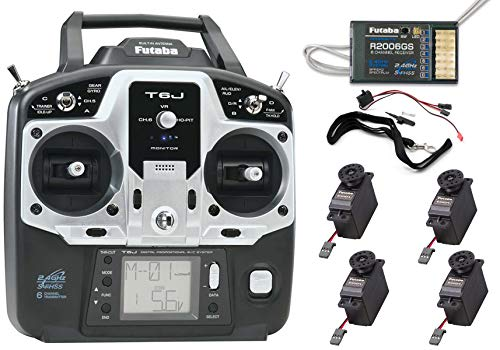 Futaba 6JA Six-Channel Two-Point-Four Gigahertz Computerized Radio Control Aircraft Transmitter with R2006GS Receiver and (4) S3004 S-FHSS Servos
