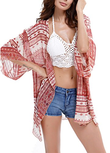 Bigood Mousseine Plage Rose de Cover Veste Maillot Bain Poncho Soie Veste up Bikini Cardigan Femme de rtrP5SWnqw