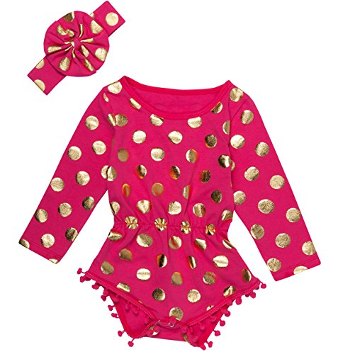 (Messy Code Baby Romper Onesies Girls Clothes Gold Dot Jumpsuits Headband Outfit Long Sleeve,Hot Pink/Gold,X-Small / 3-6Month)