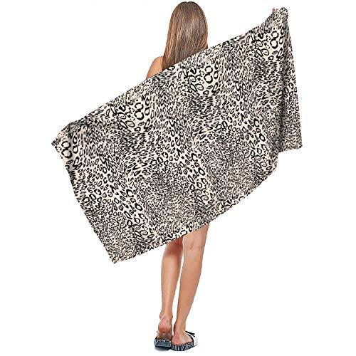 Rndjisq Leopard Cheetah Print Cream Color Black Soft Designer Extra Large Bath Towel 31.5