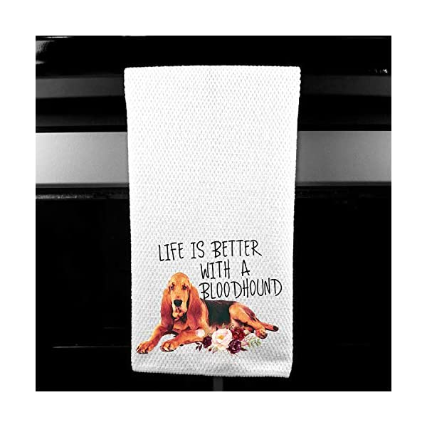 Live is Better with a Bloodhound Waffle Microfiber Kitchen Tea Bar Towel Gift for Animal Dog Lover 1