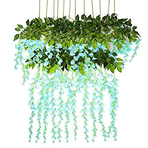 Artificial Flowers Wisteria 12 Pcs 3.6feet Garland Vine Silk Hanging Plants for Wedding Arrangements Outdoors Decorations Home Garden Party Decor Simulation Flower 82