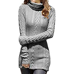 v28 Women Polo Neck Knit Stretchable Elasticity Long Sleeve Slim Sweater Jumper (US SIZE 6-10, dark grey)