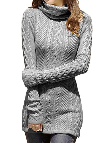 v28 Women Polo Neck Knit Stretchable Elasticity Long Sleeve Slim Sweater Jumper (US Size 6-10, Dark Grey)