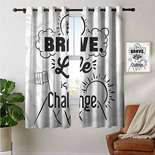 (petpany Blackout Curtains for Bedroom Quotes,Be Brave Themed Slogan,Darkening Grommet Window Curtain 1 Pair 42