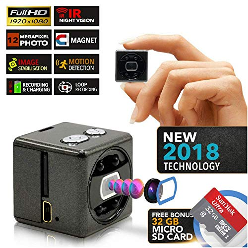 Hidden Spy Camera   Free 32GB Micro SD   Magnetic   1080P Full HD   Motion Detection   Loop Recording   Cameras for Protection and Surveillance of Your Home and Office