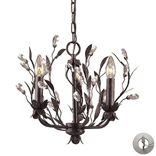 (Alumbrada Collection Circeo 3 Light Chandelier In Deep Rust And Crystal Droplets - Includes Recessed Lighting)
