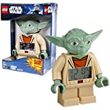 """Lego Year 2010 Star Wars Animated Series """"The Clone Wars"""" 7 Inch Tall Figure Alarm Clock Set# 9003080 - YODA with Moving Arms and Backlight Display"""