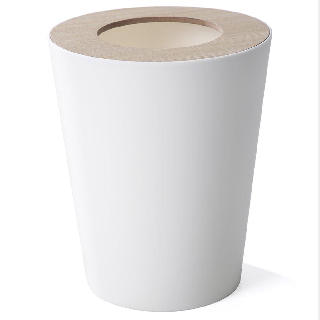 WSWJJXB Haushaltsabfalleimer Kunststoff-Hygiene-Eimer Papierkorb (weiß schwarz) 9L (Farbe   Weiß)