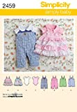 Simplicity Simply Baby Pattern 2459 Babies Romper in Two Lengths, Jumper and Knit Bodysuit, Birth to 24 Pounds or 18 Months