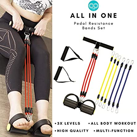 J1 Sport All-in-One Pedal Resistance Bands Set –...