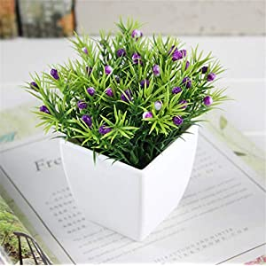 Small Square Herbweed + Fruit (Purple) Family Kitchen Office Window Sill Spring Decoration, Modern Potted Green Artificial Succulent Flower Pot