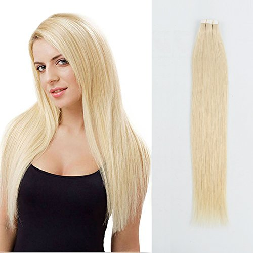 Sassina Remy Brazilian Invisible,Seamless PU Skin Wefts Double Sided Glue Platinum Ash Blonde Tape in Human Hair Extensions 20Pcs 50g/set (60# 22″)