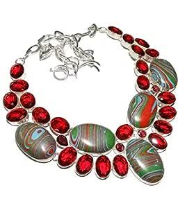 Rainbow Jasper, Red Garnet sterling silver gemstone necklace