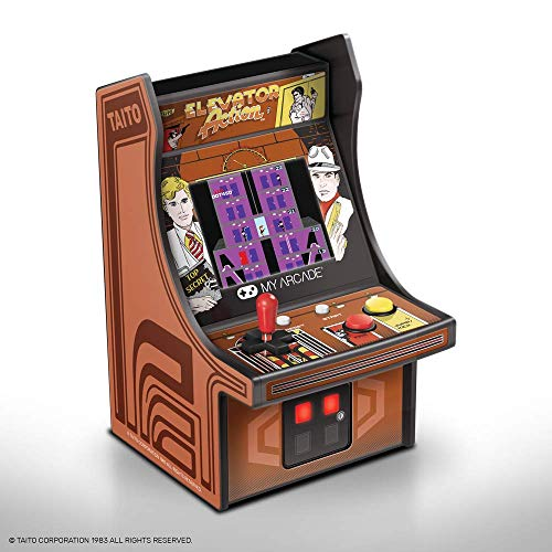 My Arcade Micro Player Mini Arcade Machine: Elevator Action Video Game, Fully Playable, 6.75 Inch Collectible, Color Display, Speaker, Volume Buttons, Headphone Jack, Battery or Micro USB Powered