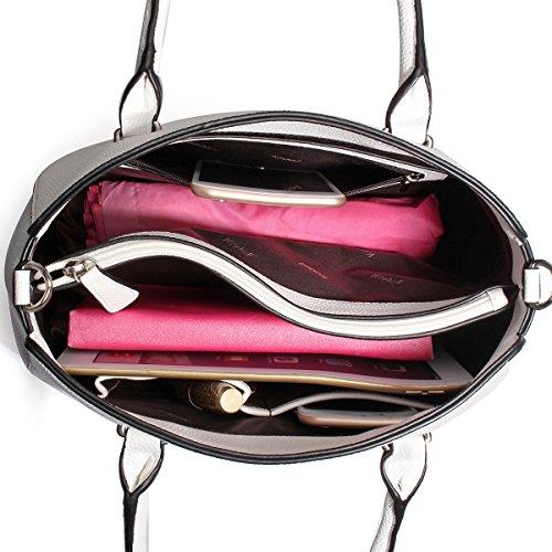 Pu Purse Handbags Handle Leather White Ladies Bags Satchel Luxury Shoulder Tote Women's Kadell Top 47Ew5