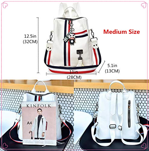 Ladies Medium Daypack White Purse Girls Women Bag Backpack Fashion Leather Schoolbags Sumerk Shoulder for Rucksack ORwTB0