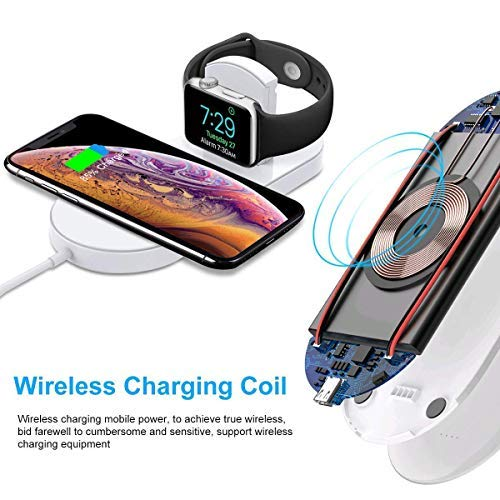 Wireless Charger for Apple Watch Wireless Fast Charging Pad, 2 in 1 Stand Charging Pad Compatible with Apple Watch Series 1/2/3,iPhone XR/XS Max,Samsung Galaxy Note 8/S8 Plus/S7 Edge & Qi-Enabled Phone (Beige)